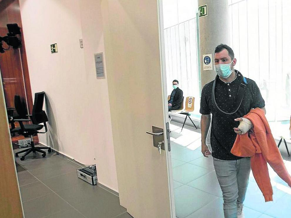 El acusado, cuando se celebró el juicio en mayo de 2020 en la Audiencia de Zaragoza.