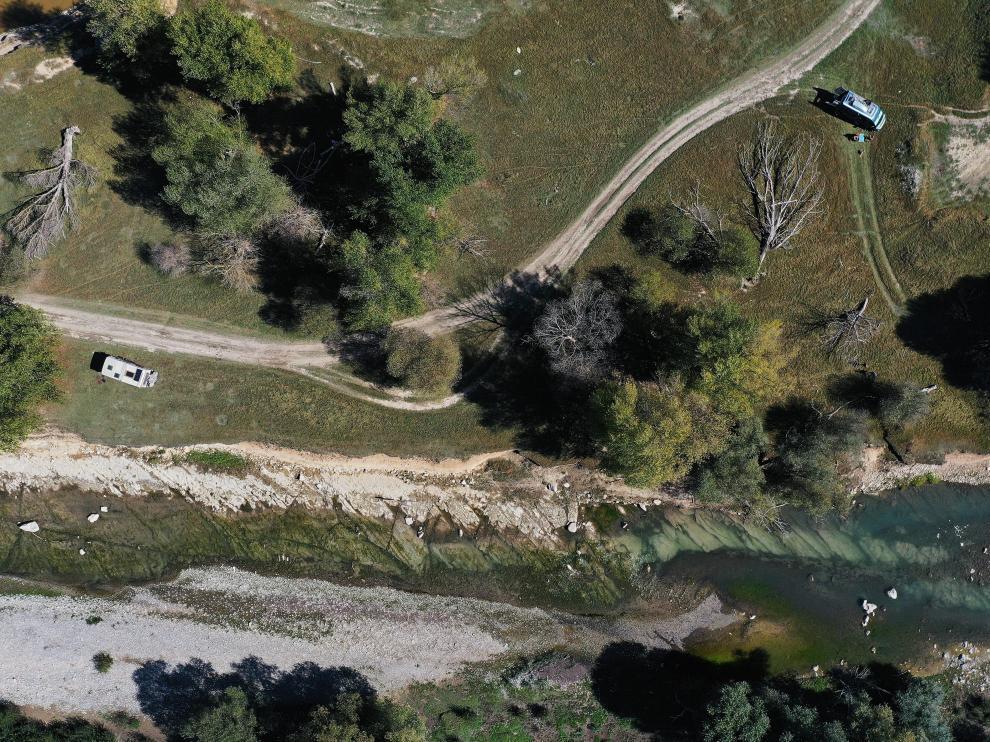 Imagen aérea de la cola del embalse de Yesa, que está al 19,9% de su capacidad