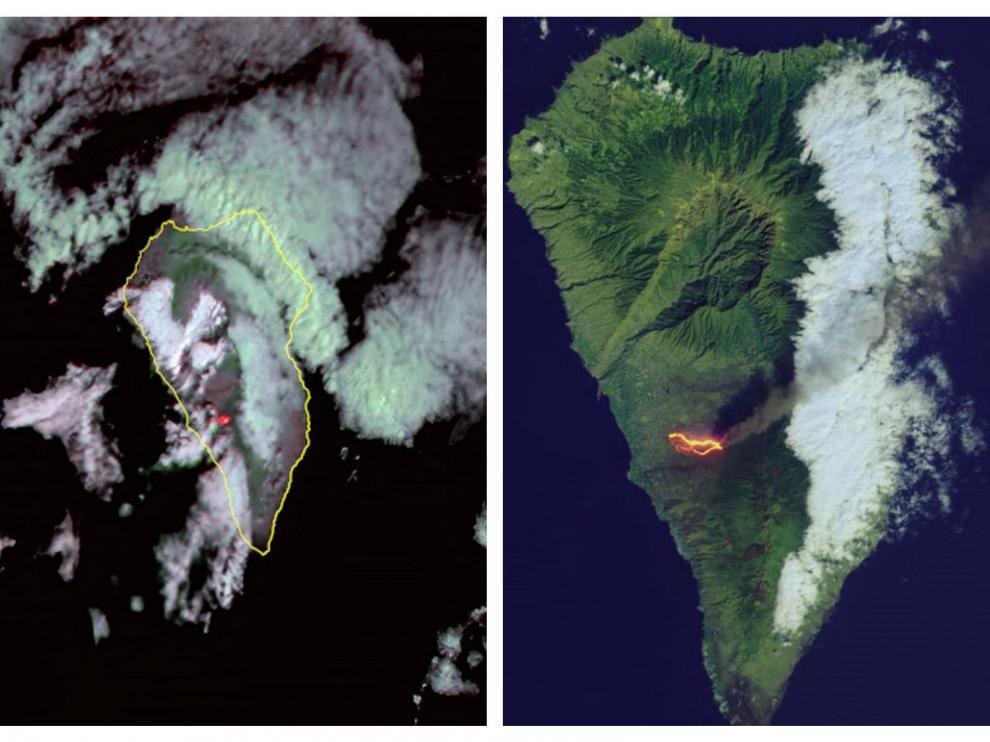 Vistas de la isla de La Palma desde el espacio