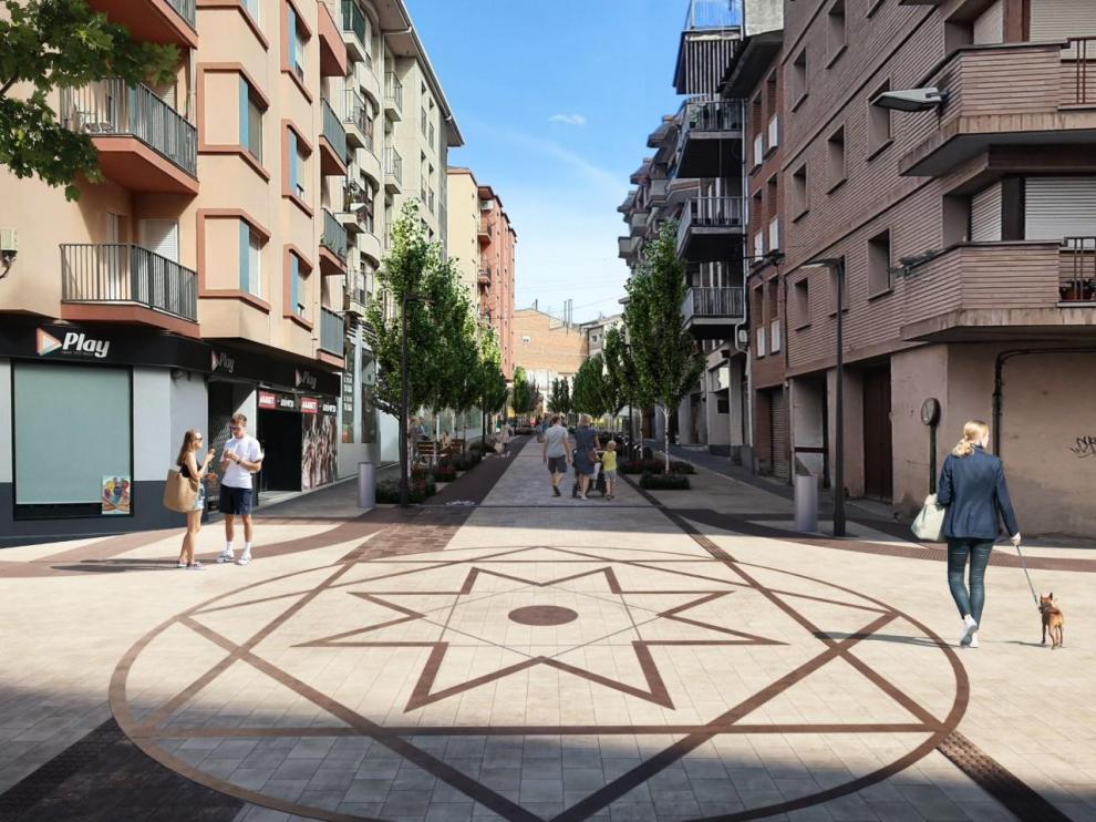 Recreación de la futura imagen de la avenida del Pilar de Monzón.