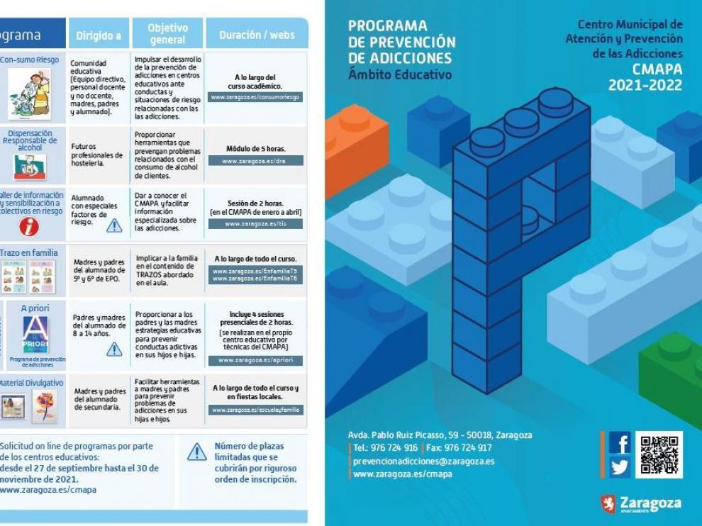 Folleto del CMAPA con todos los programas de prevención