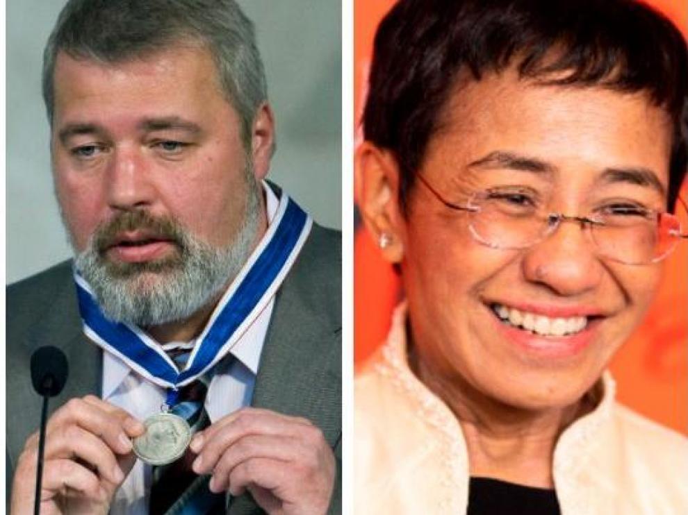 Los periodistas Dmitry Muratov y Maria Ressa.