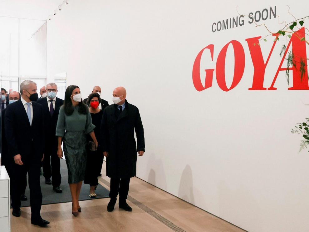 La reina Letizia en la inauguración de la exposición de Goya en Suecia.