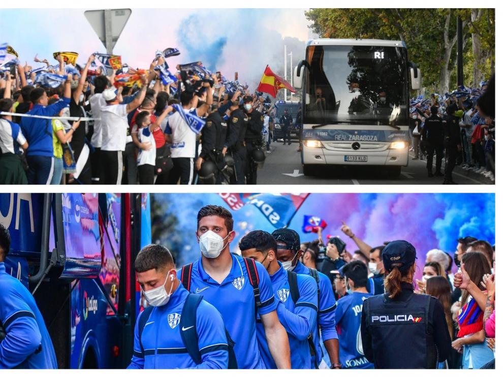 Ambiente de aficionados del Real Zaragoza y la SD Huesca
