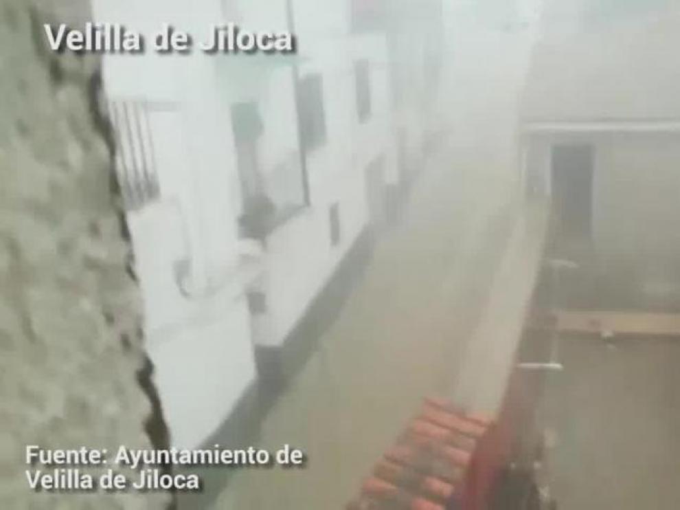 Fuertes precipitaciones en Velilla de Jiloca