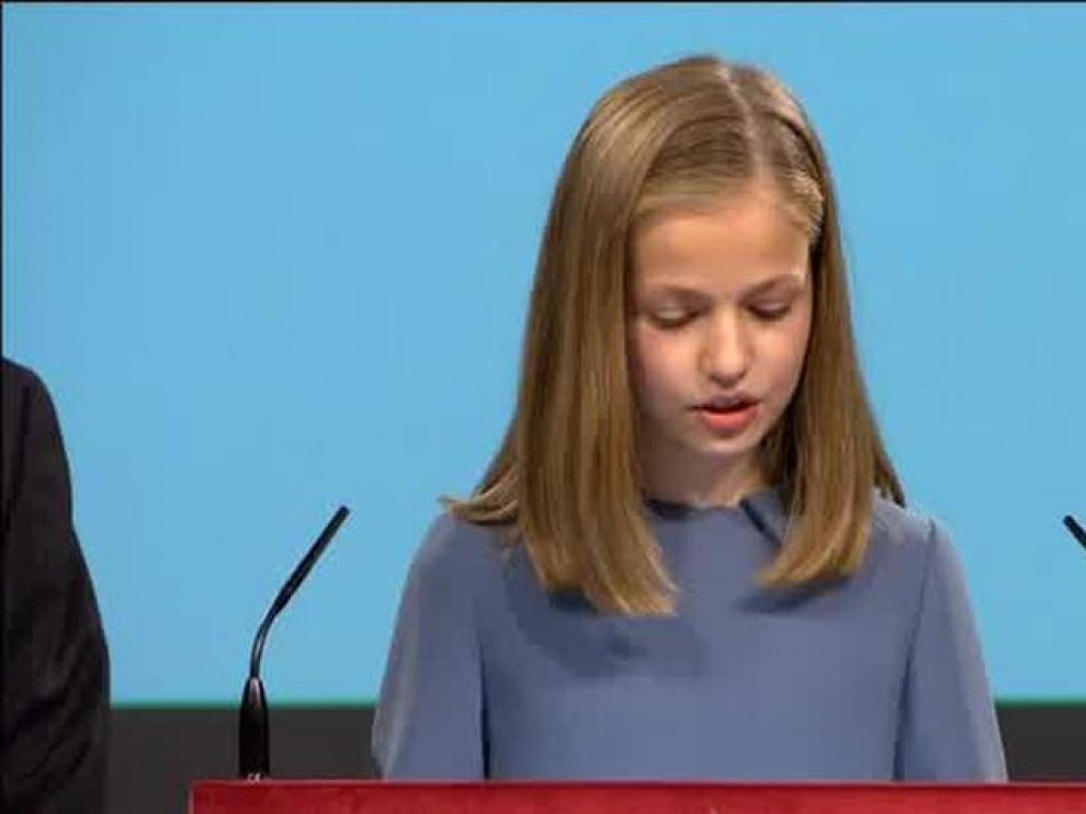 Primeras palabras en un acto oficial de la princesa Leonor