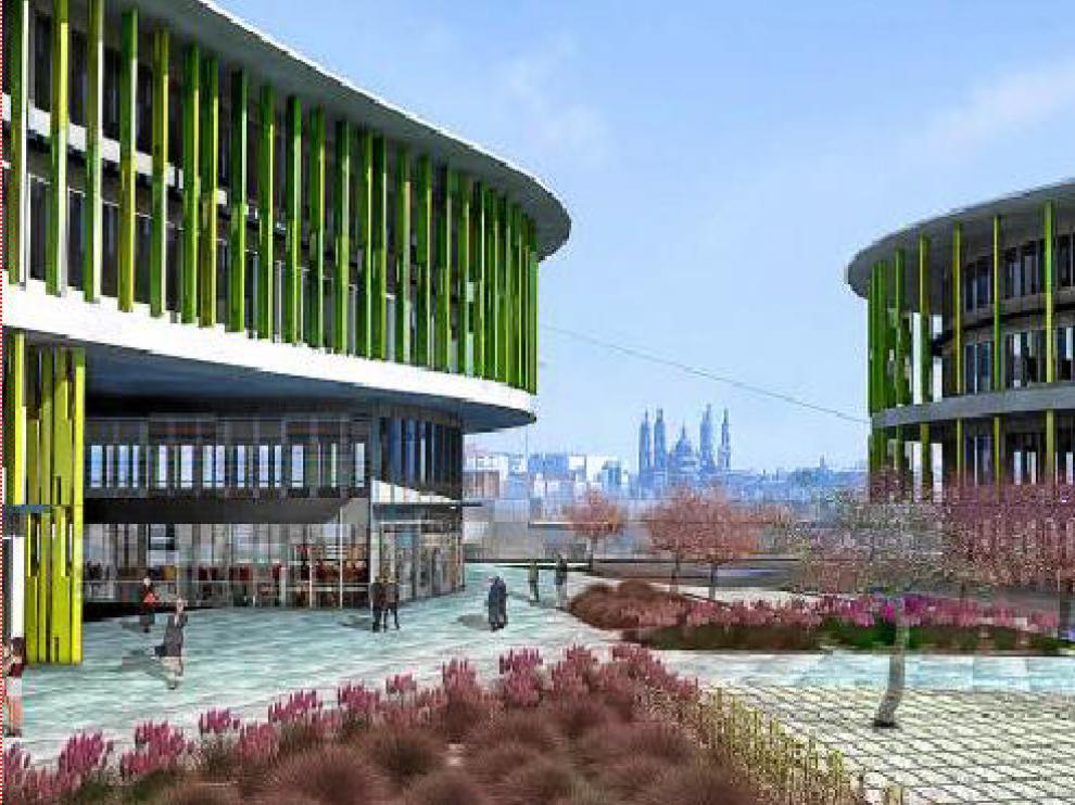 Recreación del parque empresarial, que estrenará fachadas de cristal con lamas y amplias zonas verdes.
