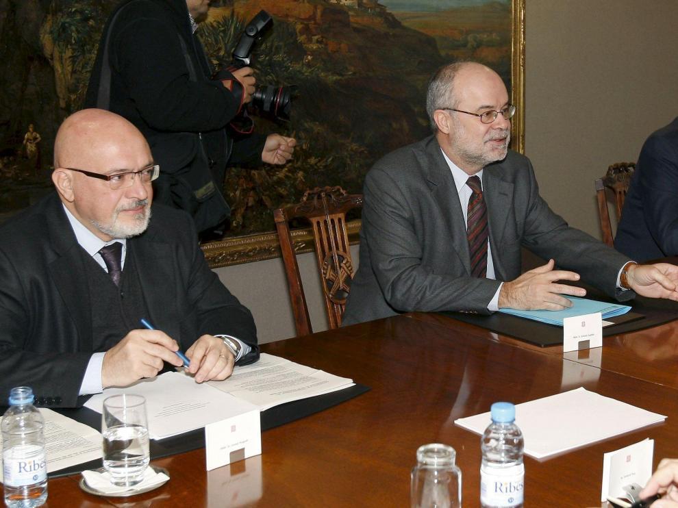 Los consellers de Economía, Antoni Castells, e Innovación, Josep Huguet