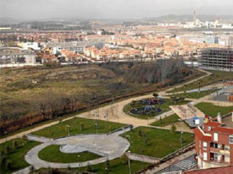 Vista general de la principal zona de crecimiento residencial de Cuarte en los últimos años, al suroeste del casco urbano