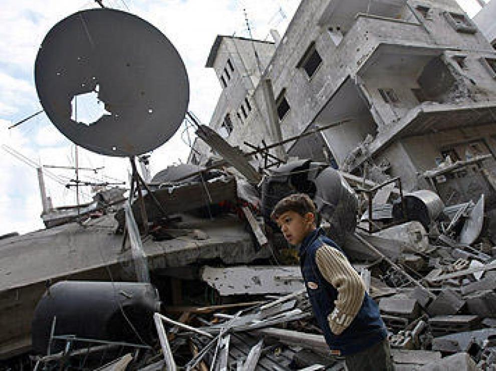 Destrozos causados en la Ciudad de Gaza