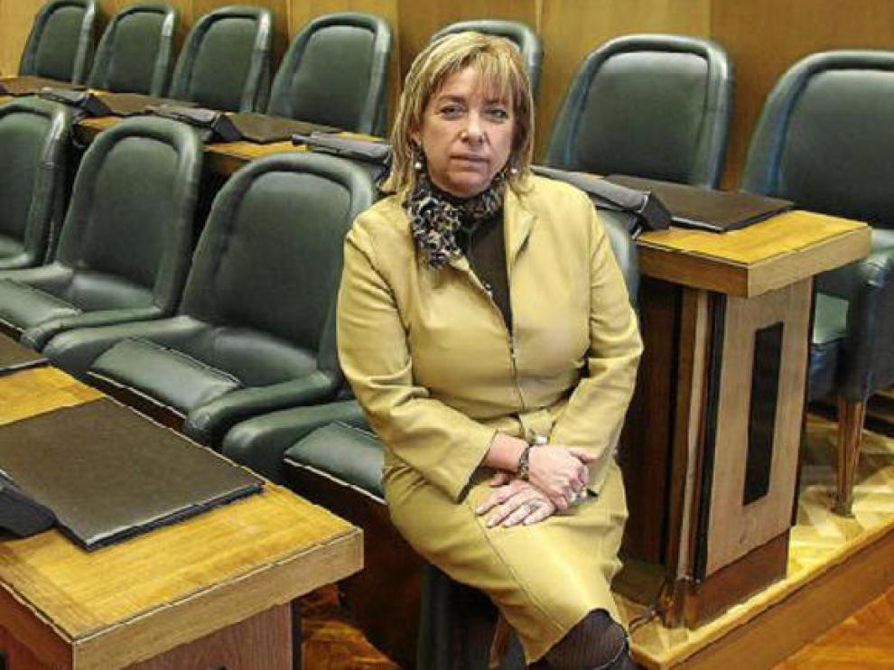 Dolores Serrat, frente a la bancada que ocupa el PP en el salón de plenos del Ayuntamiento de Zaragoza.