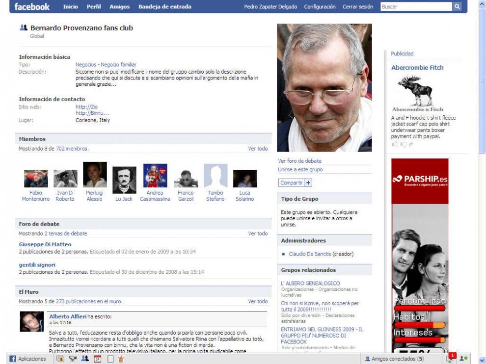 Imagen de la web de facebook dedicada al club de fans de Bernardo Provenzano.