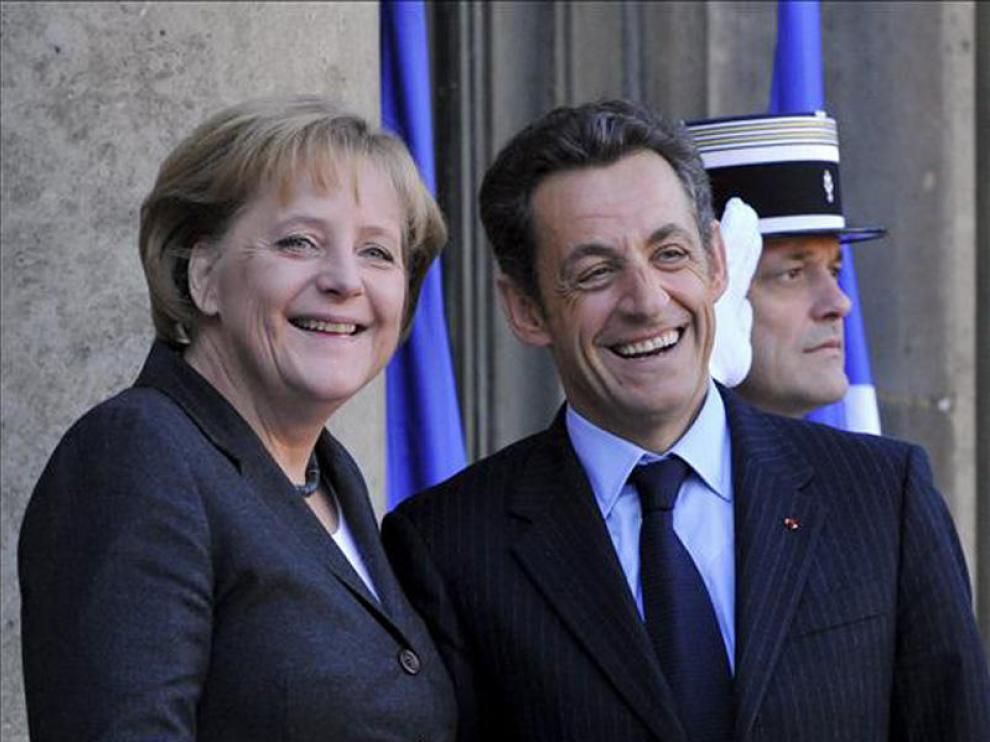 La canciller alemana junto al presidente francés.