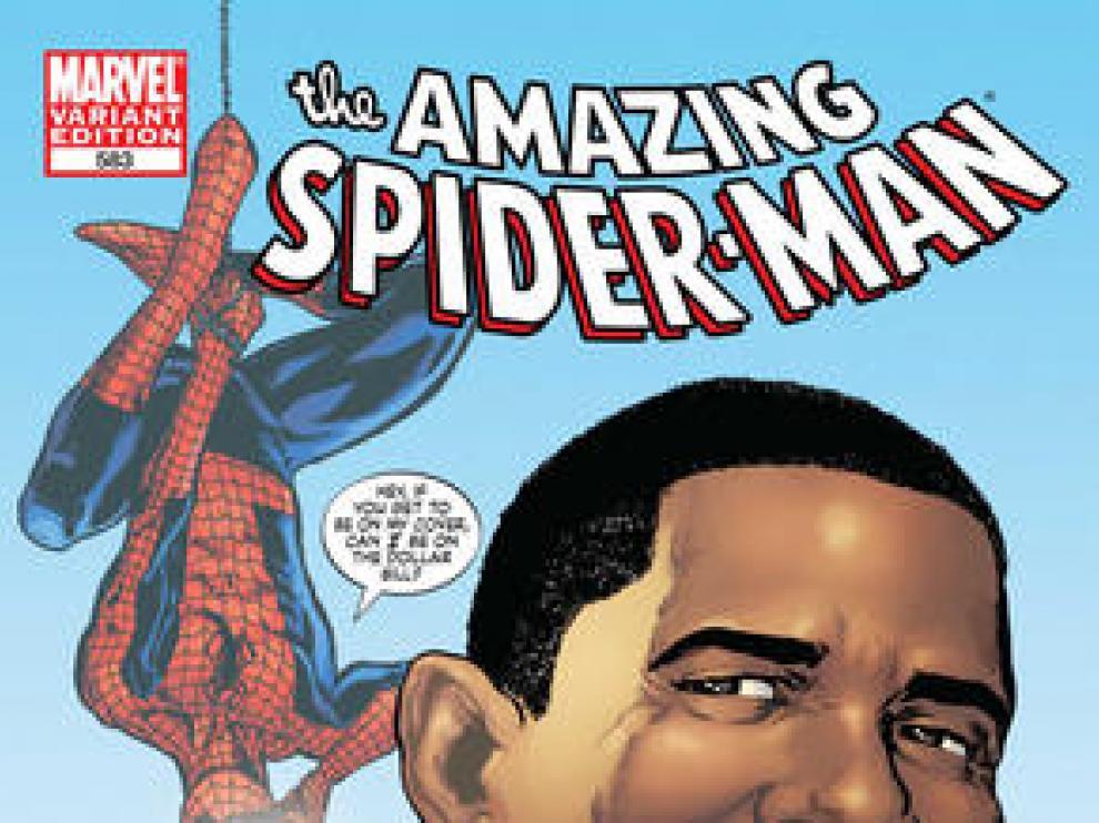 Portada del cómic de Spiderman y Obama.