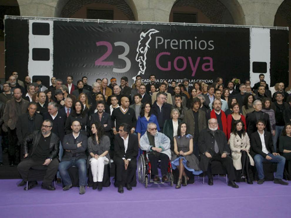 Foto de familia de los candidatos a los premios Goya.