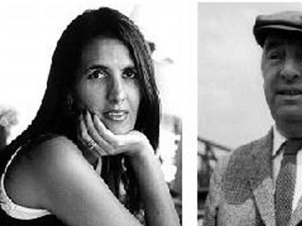 La escritora brasileña Martha Medeiros y el poeta chileno Pablo Neruda