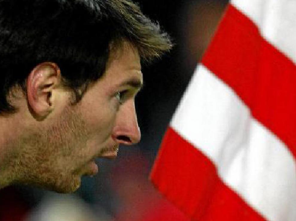 Leo Messi, en el partido de ida en el Calderón, donde logró hacer tres goles.