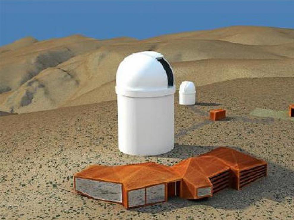 Recreación del futuro telescopio Actuel, con instalaciones auxiliares mimetizadas con el entorno