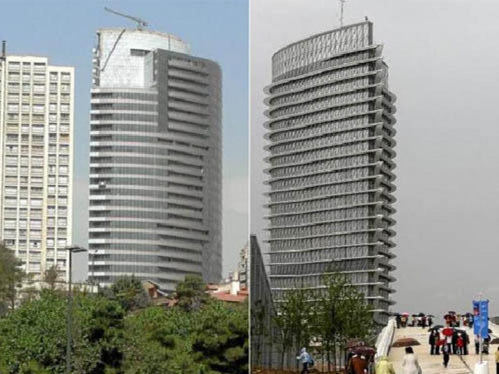 La Torre Mahestan, de Teherán/La Torre del Agua, de Zaragoza