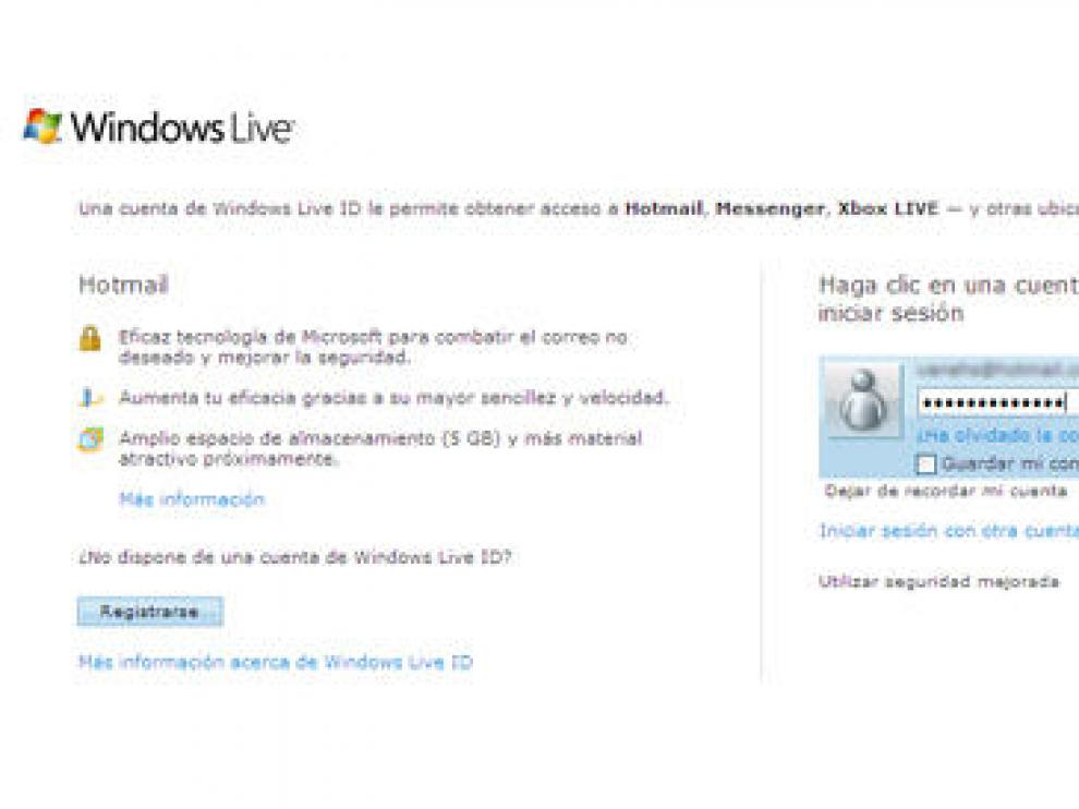 Acceso al correo electrónico de Hotmail (Microsoft)