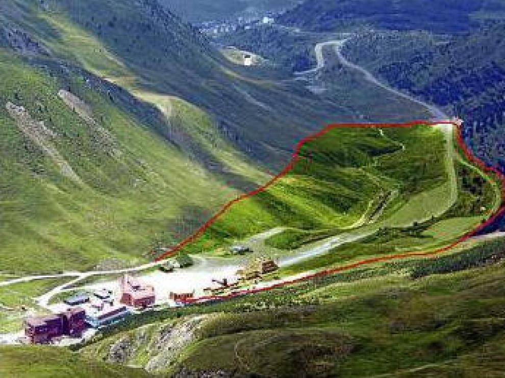 La estación de Astún y la zona por la que se desarrollará