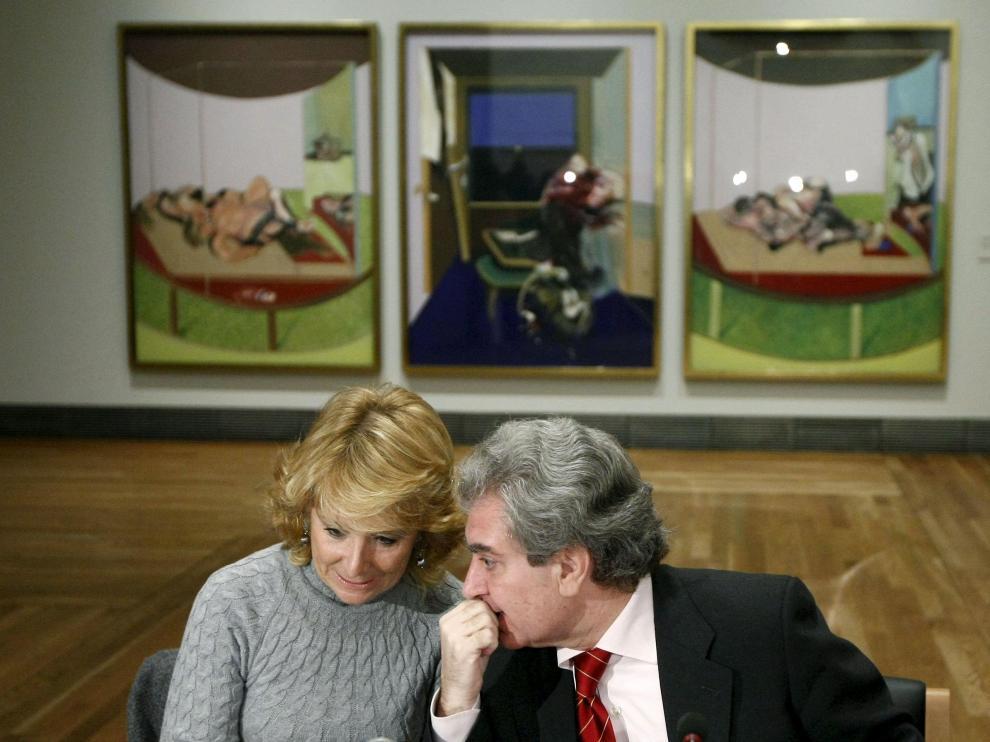 La presidenta de la Comunidad de Madrid, Esperanza Aguirre, y el ministro de Cultura, César Antonio Molina.