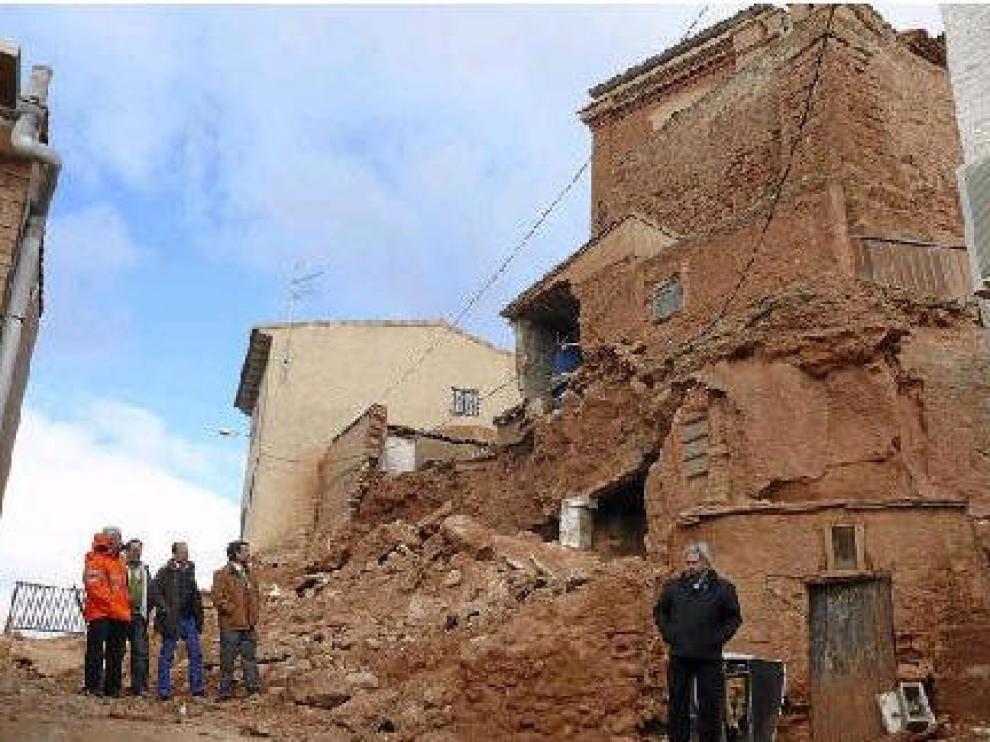 Estado en que quedaron los bajos de la iglesia de Cervera tras los últimos hundimientos