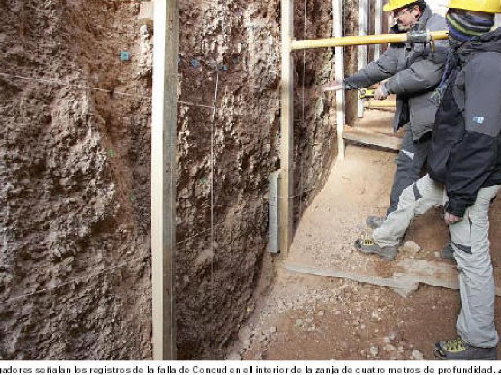 Los investigadores señalan los registros de la falla de Concud en el interior de la zanja de cuatro metros de profundidad.