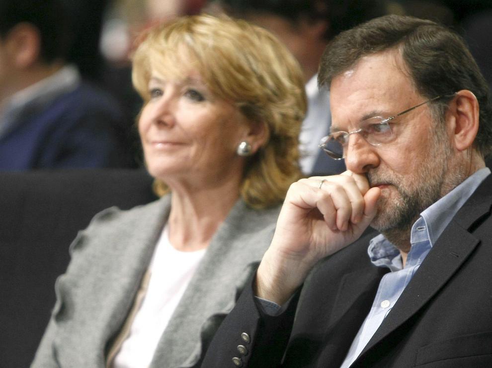 Mariano Rajoy junto a Esperanza Aguirre