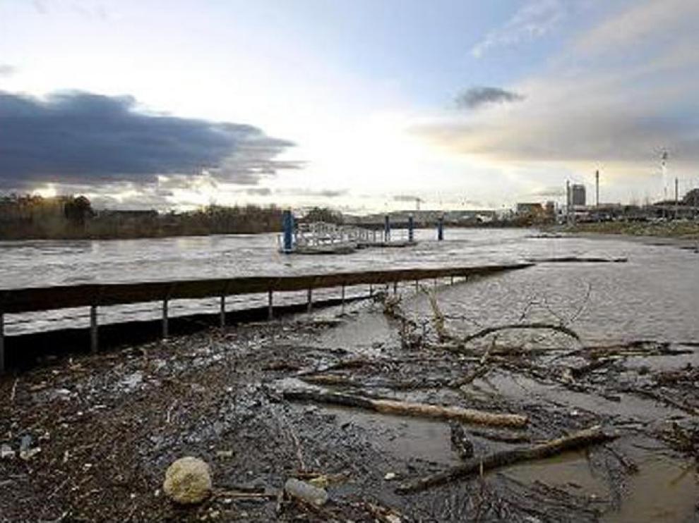 Imagen del nivel que presentaba ayer el Ebro a su paso por Zaragoza, cerca del recinto Expo.
