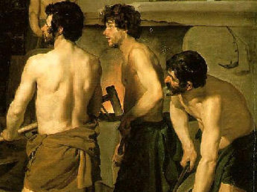 "Hombres musculosos en ""La fragua de Vulcano"", de Velázquez"