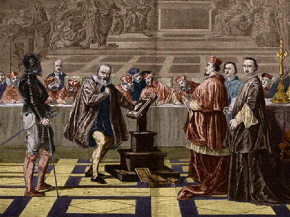 Cuadro de Joseph-Nicolas Robert-Fleury con Galileo frente a la Inquisición