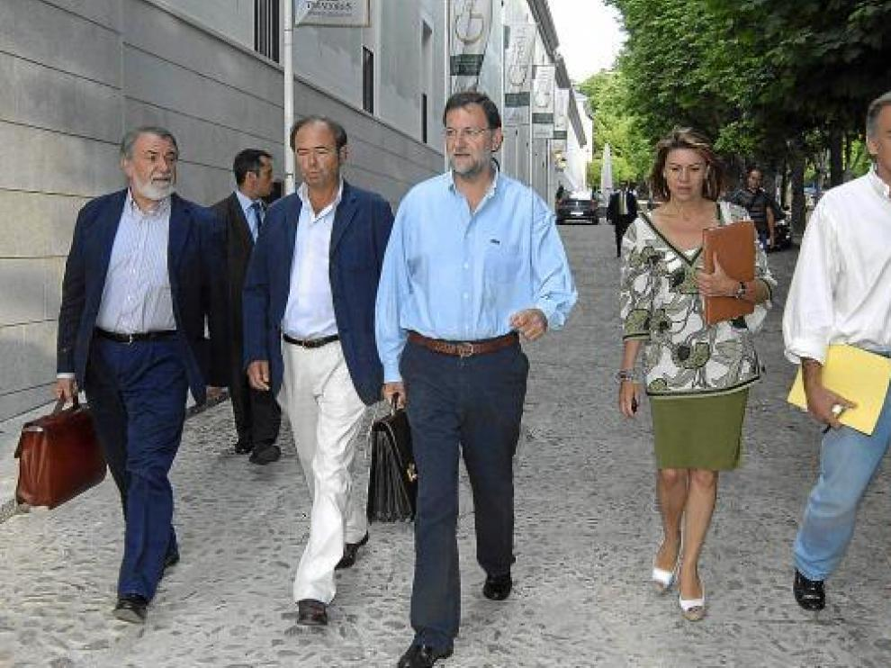 Rajoy, Oreja, García Escudero, De Cospedal y González Pons, en La Granja de San Ildefonso (Segovia).