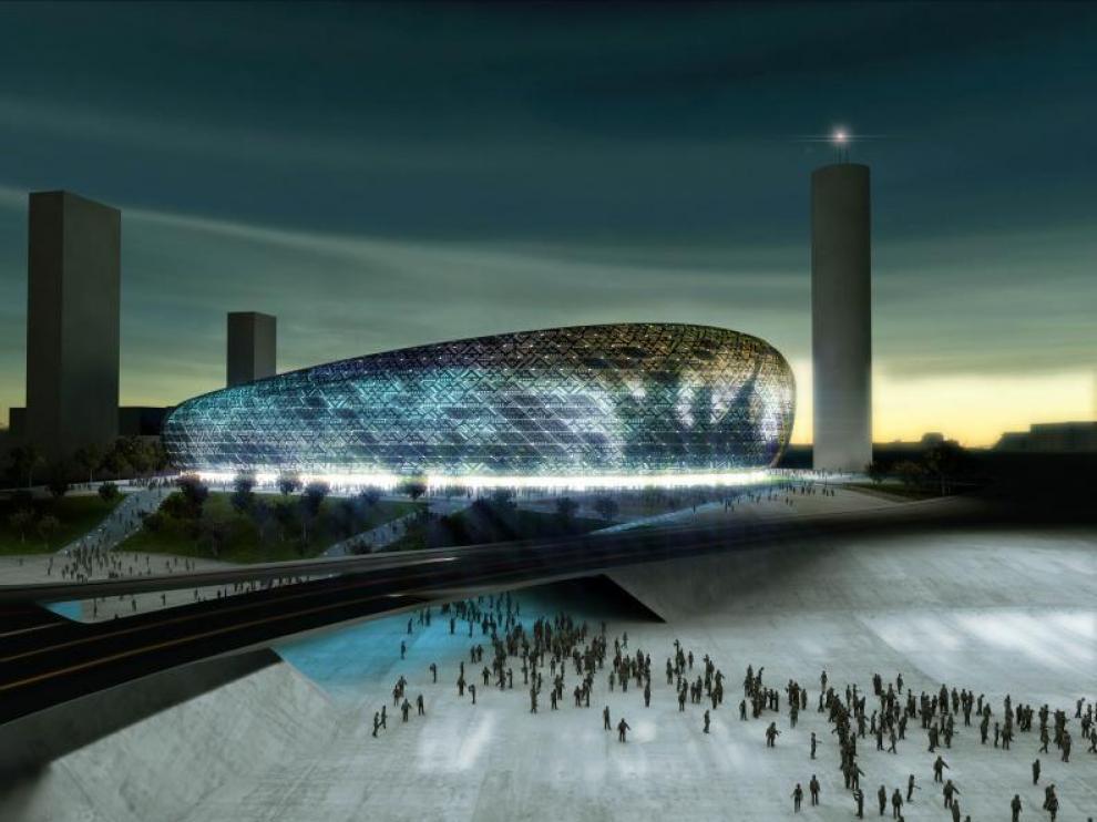 Recreación del futuro estadio de fútbol de San José, diseñado por el arquitecto Joaquín Sicilia.