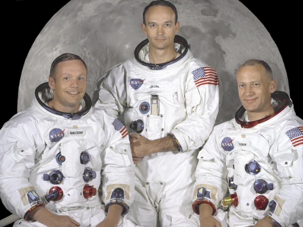 Los austronautas protagonistas Neil Armstrong, Michael Collins y Buzz Aldirn
