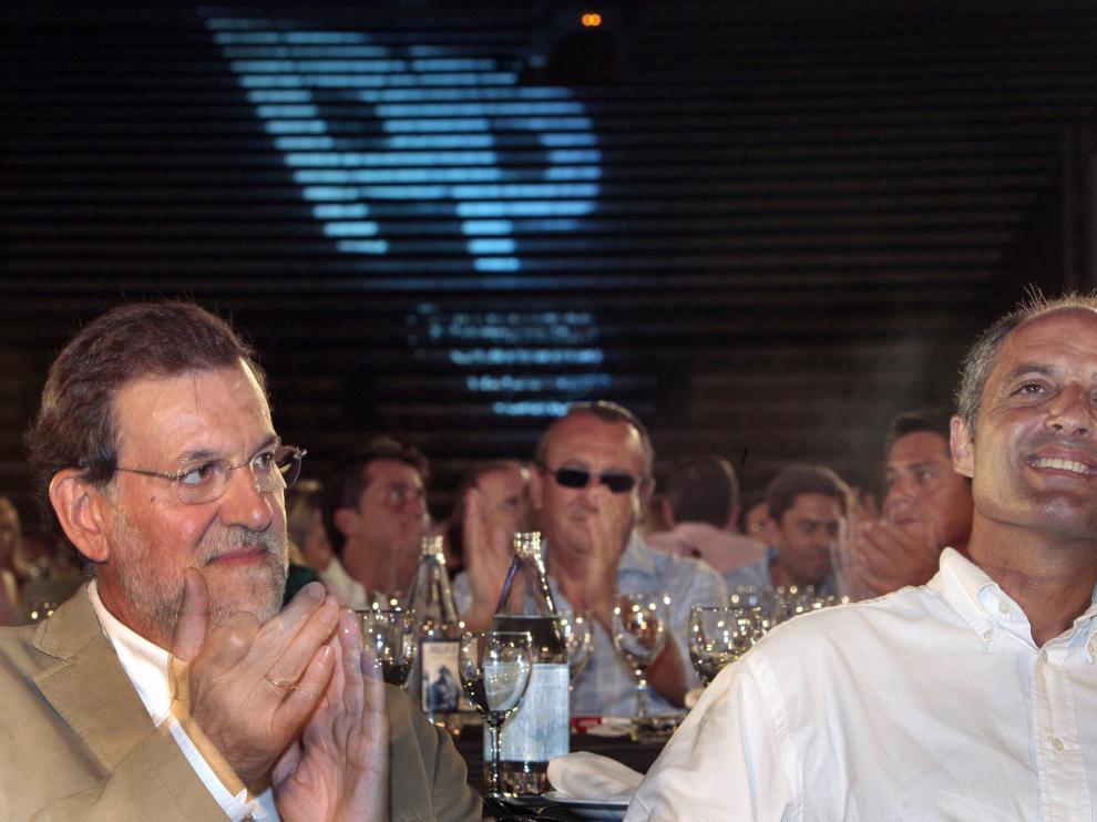 Rajoy y Camps durante la cena de inicio de curso político