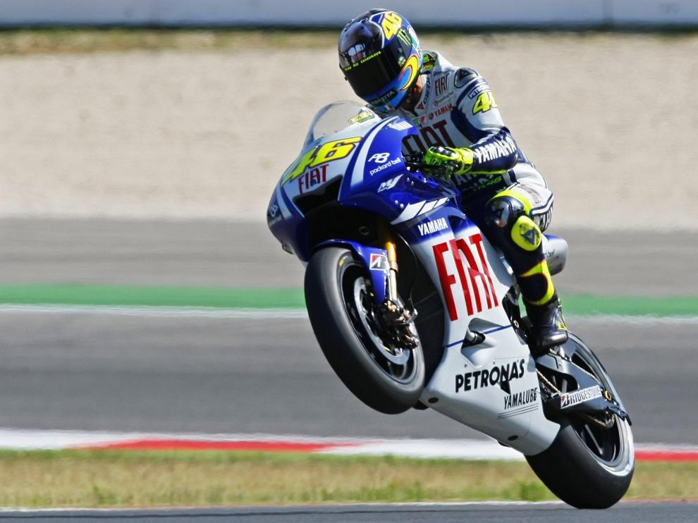 Rossi celebra su 'pole'.