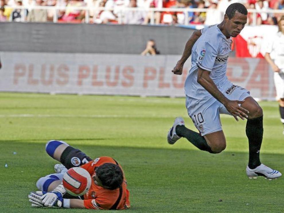 El brasileño Luis Fabiano, autor de dos goles en la última visita del Real Zaragoza al Sánchez Pizjuán (5-0) de la temporada 07/08.