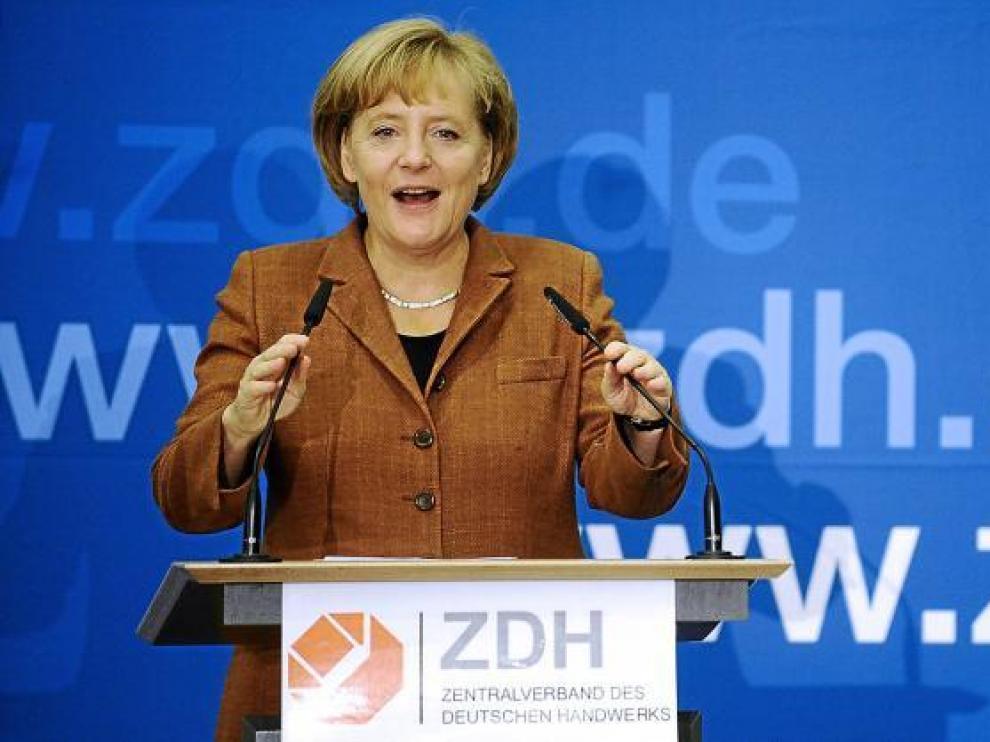 Angela Merkel, en un acto público ayer en Berlín.