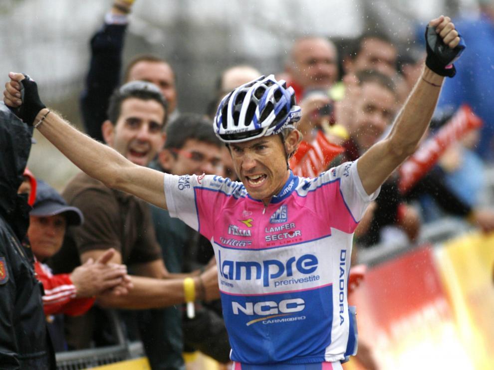 El italiano celebra el triunfo de la decimocuarta etapa de la Vuelta Ciclista España