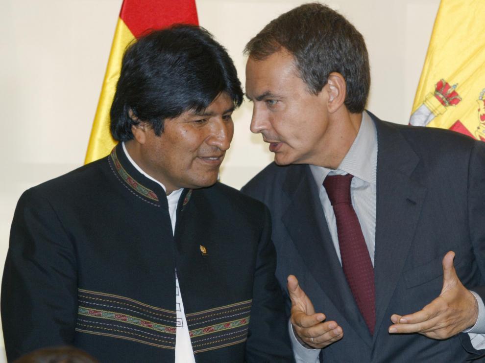 Evo Morales y Zapatero, durante su reunión en La Moncloa