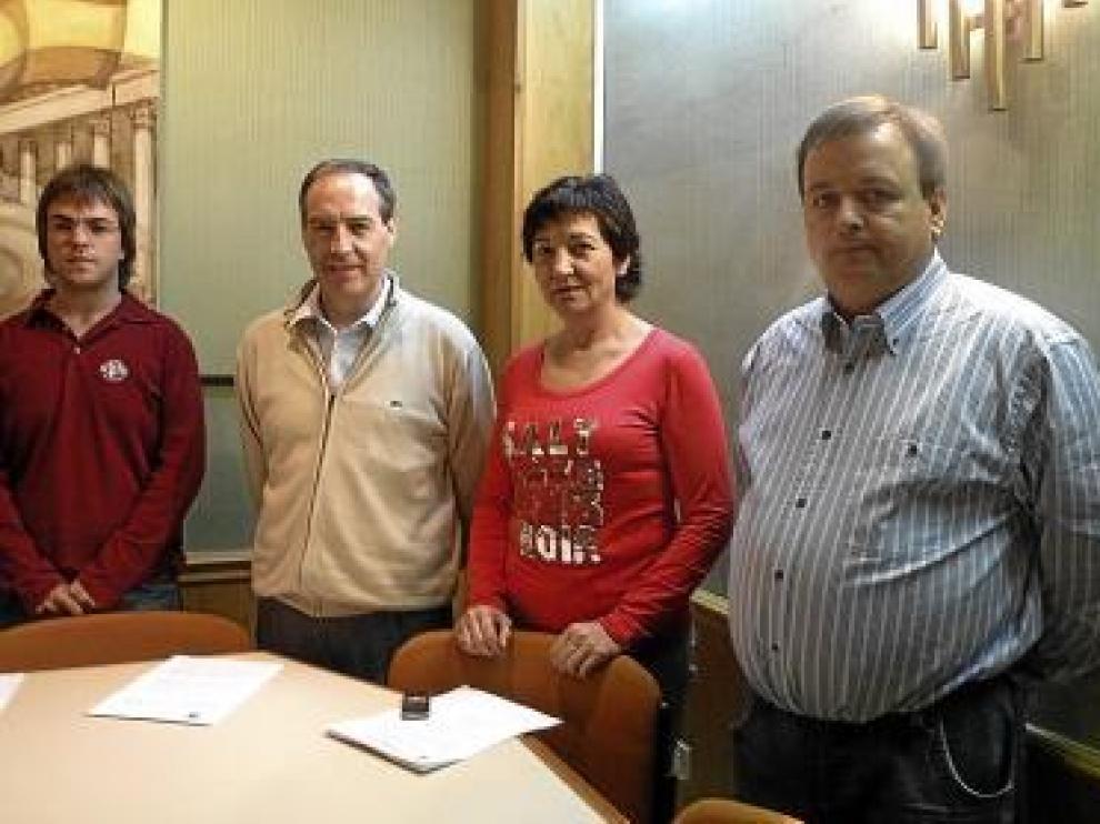 Sancho, Burriel, Carod y Bellés, ayer en Alcorisa.