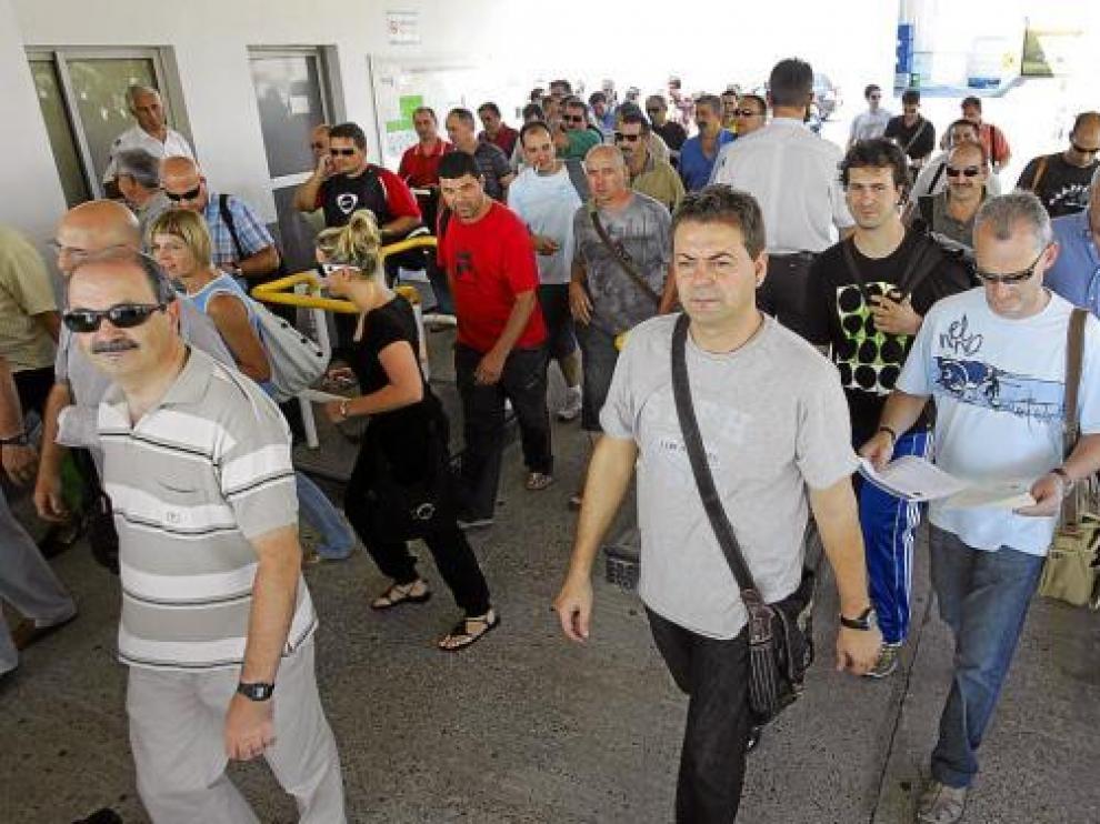 Imagen del 11 de septiembre de la salida de los trabajadores de la fábrica de Figueruelas.