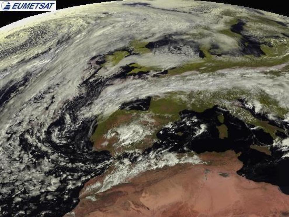 Imagen de la península Ibérica tomada desde el satélite Meteosat