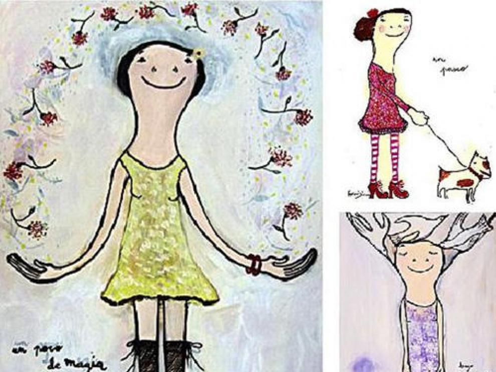 Las obras de Eva Armisén destacan por sus líneas infantiles