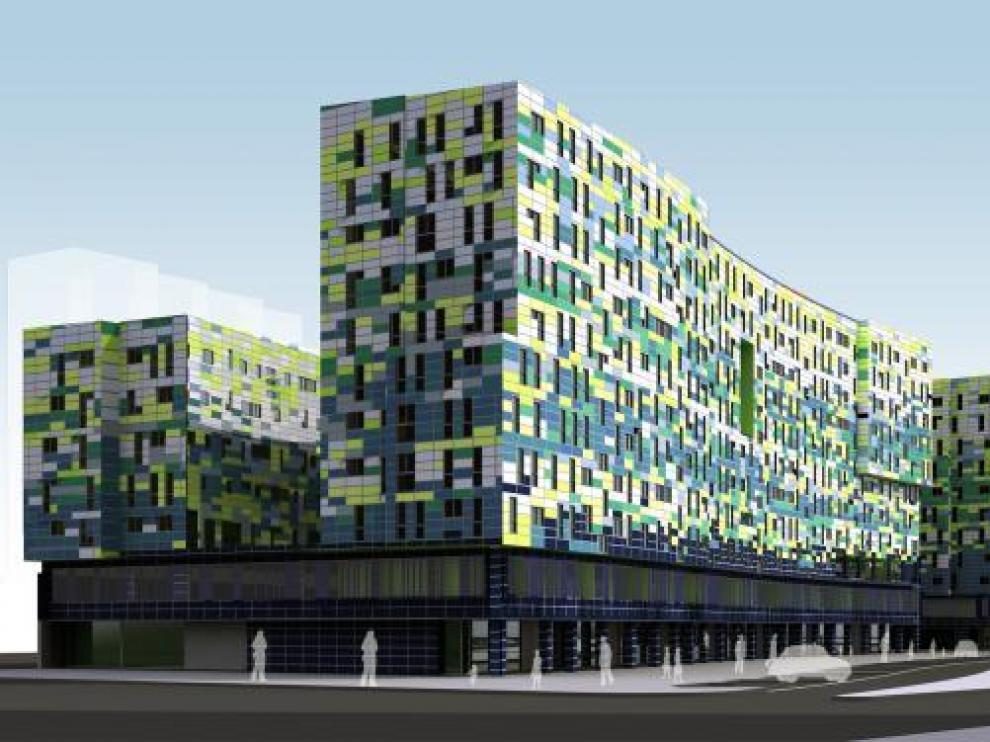 Recreación del edificio, cuya fachada se compondrá de paneles de aluminio de distintos colores.