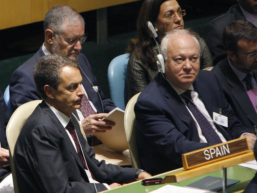 Zapatero y Moratinos, durante los debates de la Asamblea General de la ONU