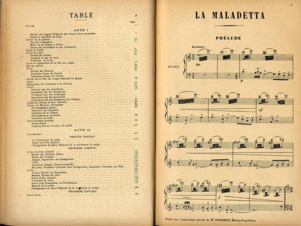 Doble página de la partitura