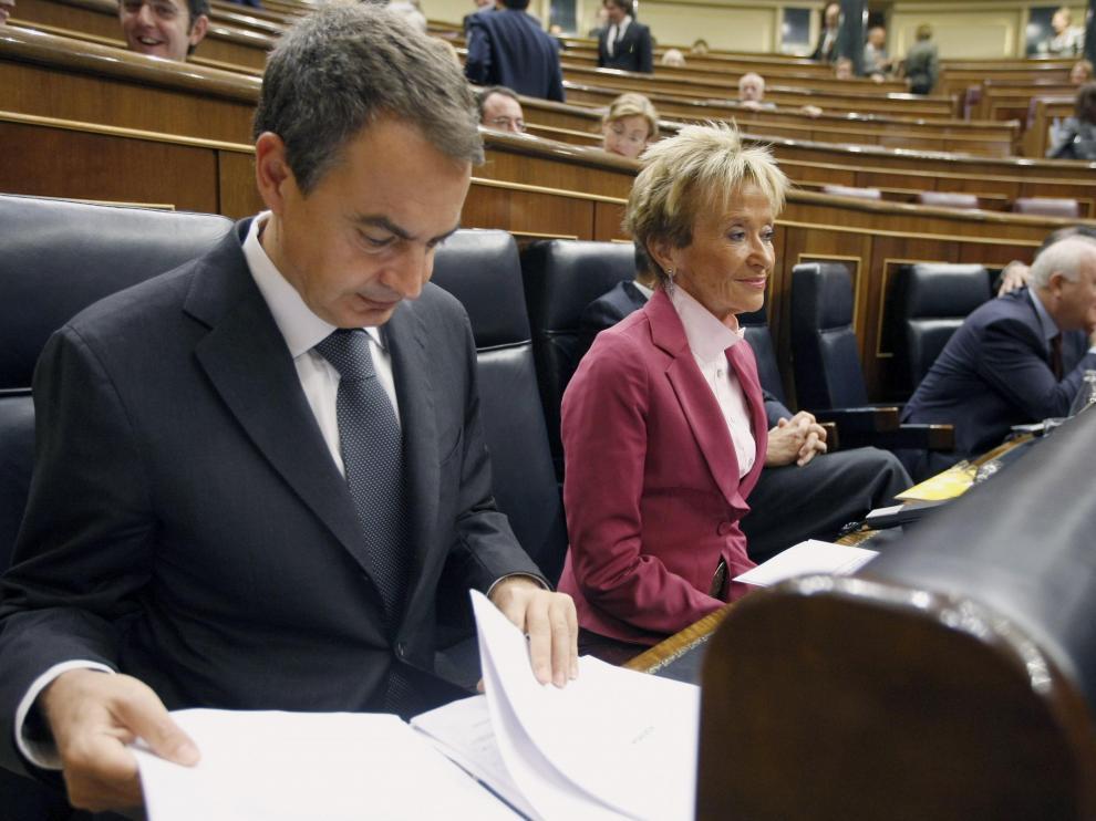 Zapatero y De la Vega en el Congreso
