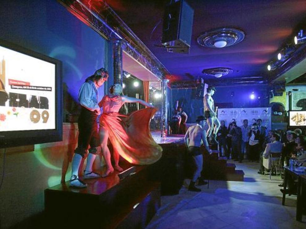 La 'troupe' del Plata, durante la presentación del programa de las fiestas.